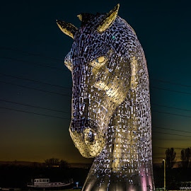 Kelpies by Lee Niven - Buildings & Architecture Statues & Monuments ( lights, water, moon, kelpies, horses, falkirk, stars, dark, long exposure, night shoot,  )