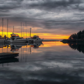 At Dock by Don Malcolm - Transportation Boats ( clouds, sailboats, waterscape, color, dock )