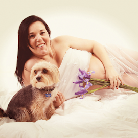 by Elna Fourie - People Maternity ( mother, yorkshire, salome, pregnancy, dog, boy )