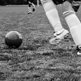 Kick by Jervin Reyes - Sports & Fitness Soccer/Association football ( ball, monochrome, football, black and white, sports, summer, people, soccer )
