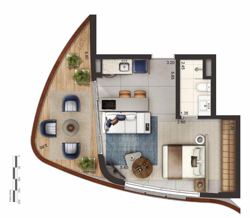 Apto 48 m² Layout 1