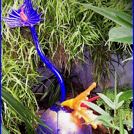 Glass Flower by Sandy Stevens Krassinger - Artistic Objects Glass ( glass, artistic object, flowers, blown glass, garden, artwork )