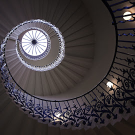 Round she goes by Ursula Rodgers - Buildings & Architecture Public & Historical ( inigo jones, stairs, spiral staircase, london, queen's house, architecture, greenwich )