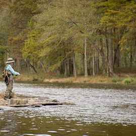 Woman Fly Fishing by Eva Ryan - People Street & Candids ( stream, oklahoma, female, woman, trees, fishing, landscape, fly fishing,  )