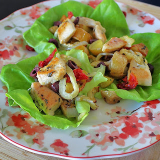 Chicken Salad Lettuce Leaf Wraps with Roasted New Potatoes, Fennel and Olives #WeekdaySupper