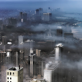 Chicago off Lake Michigan by John Harrison - Landscapes Weather ( clouds, lake michigan, fog, lake shore drive, lsd, chicago, jnhphoto )