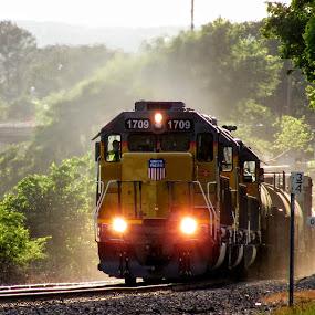 Right On TIme by Rick Covert - Transportation Trains ( railroad, locomotive, arkansas, sunset, railroad tracks, evening, trains )