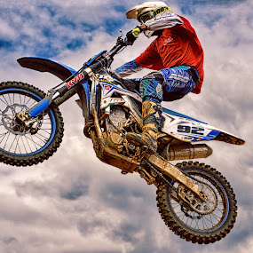 Ninety-Two In The Clouds by Marco Bertamé - Sports & Fitness Motorsports ( red, motocross, blue, speed, 92, air, number, high, race, noise, jump,  )