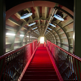 Atomium Stairs 3 by Mike Tricker - Buildings & Architecture Other Interior ( ladder, building, leading lines, red, stairs, buidings, atomium, belgium, space, star trek,  )