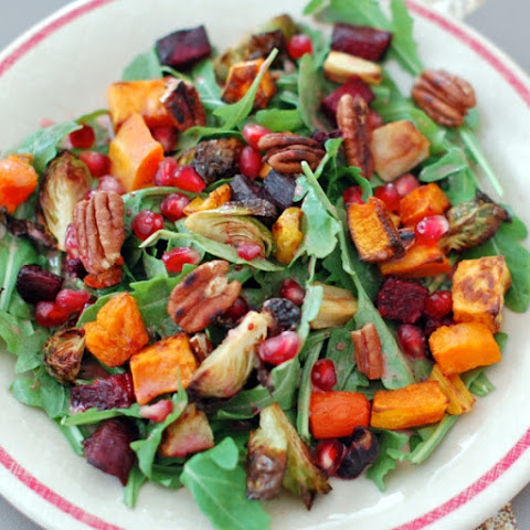Winter Root Vegetable Salad with Pomegranate Ginger Dressing