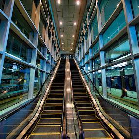 Waiting for the Light Rail by Peter Stratmoen - Buildings & Architecture Architectural Detail ( airport, minnesota, minneapolis, light rail, train, irix lenses, escalator )