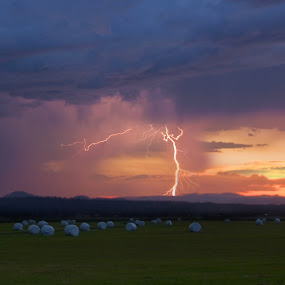 Lighting Storm by Kirsten Morse - Landscapes Weather ( field, lightening, bolt, storm )
