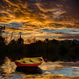 Sunset Lake by Charlie Alolkoy - Digital Art Places ( water, reflection, sunset, lake, boat )