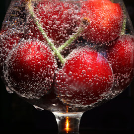 by Liviu Nanu - Food & Drink Fruits & Vegetables ( water, bubbles, glass, cherries )
