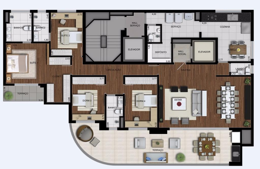 Planta Tipo - 215 m²