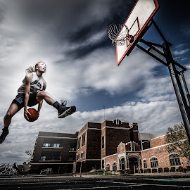 Basket-ballin by Michael Huber - Sports & Fitness Basketball ( basketball, grungy, sports, athlete, composite, athletic, hoops )