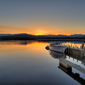 Windermere by Matt Cooper - Landscapes Waterscapes ( water, clear, reflection, sky, sunset, lake, jetty, boat )