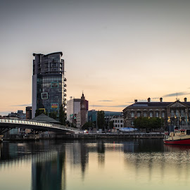 Belfast by Danny Charge - Landscapes Travel ( city, belfast, cityscapes, cityscape, bridge, water, landscape, boat )