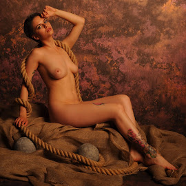 Dockside Langour by DJ Cockburn - Nudes & Boudoir Artistic Nude ( studio, art nude, cannon ball, model, sitting, nude, rope, woman, estrany, hessian, tattoo )
