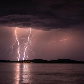 Double lightning by Jernej Lipovec - Landscapes Weather ( sony, exposure, thunder, lightning, thunderstorm, waterscape, šibenik, croatia, sea, night, landscape, storm )