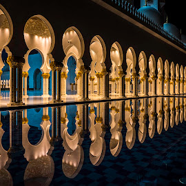 Grand Mosque Reflection by RJ Ramoneda - Buildings & Architecture Places of Worship ( grand mosque, pwcarcreflections, details, uae, reflections, abu dhabi, architecure )