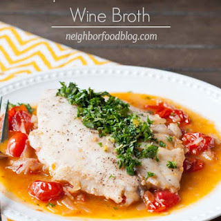 One Skillet Tilapia in Burst Tomato Wine Broth