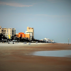 Beach by Priscilla Renda McDaniel - Landscapes Beaches ( flagler, atlantic ocen, cars, buildings, beach )