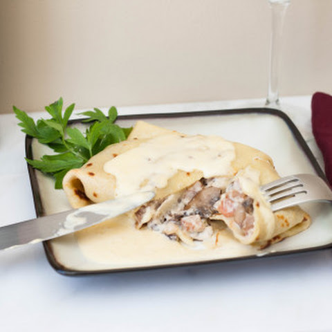 Pork Jowl Bacon and Mushroom Crêpes with Hollandaise Sauce