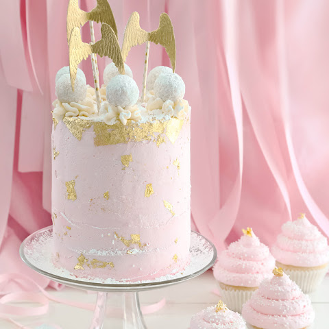Pink Champagne and Gold leaf Layer Cake (and Cupcakes!)