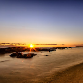 Golden Hour by Peter Nguyen - Landscapes Sunsets & Sunrises ( st andrew beach, sunset, seascapes, sea, beach, gold, rocks, sun, golden )