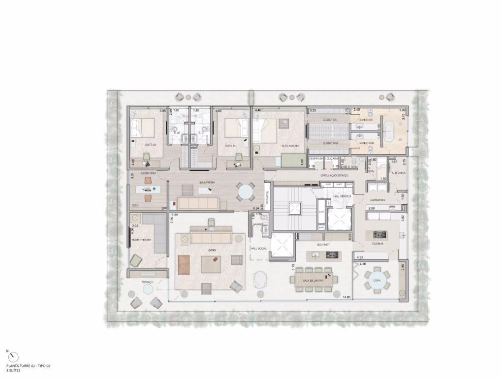 Planta Tipo - 3 Suítes - 459 m²