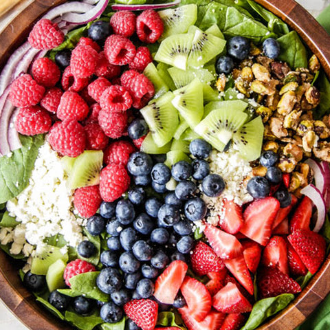Kiwi Berry Salad with Raspberry Poppy Seed Dressing