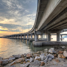 Sunrise | Penang Bridge by Danny Tan - Buildings & Architecture Bridges & Suspended Structures