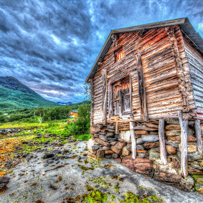 Old boathouse by Benny Høynes - Buildings & Architecture Decaying & Abandoned ( clouds, old, hdr, wood, boathouse, norway,  )