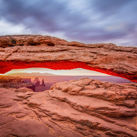 Mesa Arch Sunrise by Givanni Mikel - Landscapes Travel ( clouds, utah, canyonlands, sunrise, mesa arch,  )