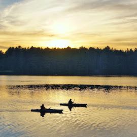 Evening on Pog Lake by Lori Williams - Novices Only Landscapes ( kayaks, sunset, outdoors, lake, landscape )
