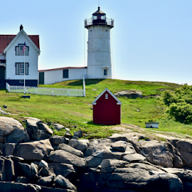 The Nubble Lighthouse by Joe Fazio - Buildings & Architecture Public & Historical ( maine, lighthouse, cape neddick, york, lobster )