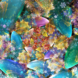 Semi-Precious Stones by Peggi Wolfe - Illustration Abstract & Patterns ( abstract, wolfepaw, gift, unique, bright, illustration, spiral, fun, digital, print, décor, pattern, color, semi-precious, unusual, stones, fractal )