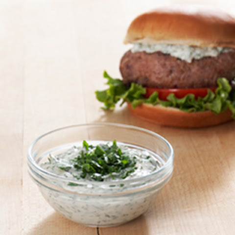 Best Ever Juicy Burger with Creamy Chimichurri Sauce