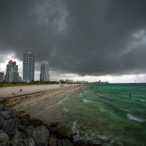 South Pointe Love by Edin Chavez - Landscapes Waterscapes ( miami beach, florida, south pointe park, ocean, storm )