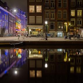 Prinsengracht by Bim Bom - City,  Street & Park  Vistas ( amsterdam mokum city netherlands night canal water reflections colors prinsengracht blue windows buildings, , city at night, street at night, park at night, nightlife, night life, nighttime in the city )