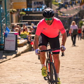 Pink by Darrell Evans - Sports & Fitness Cycling ( hill, peddle, fitness, exercise, riding, cycling, haworth, village, cycle, ride, bike )