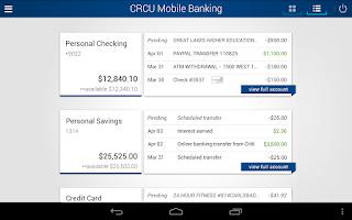 Screenshot of CRCU Mobile Banking