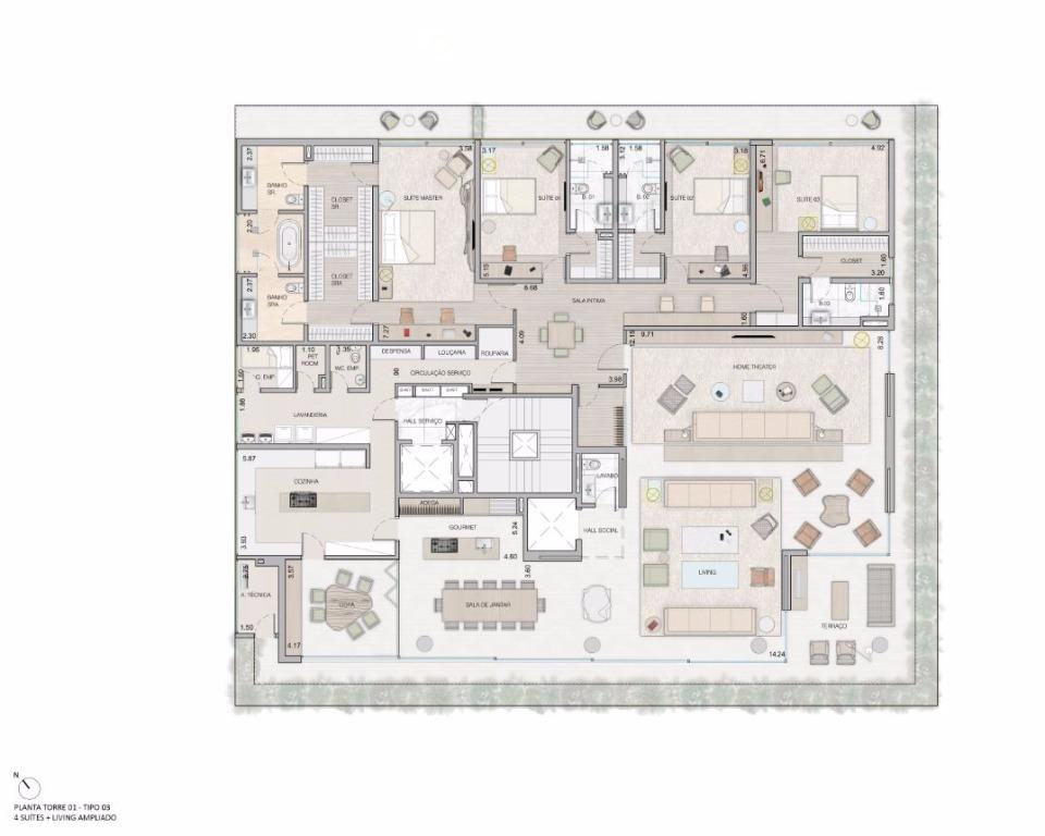Planta Opção - 4 Suítes Living Ampliado - 549 m²