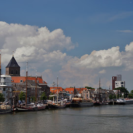 Kampen harbour by Nico Kranenburg - City,  Street & Park  Skylines ( kampen, harbour, city skyline, netherlands )