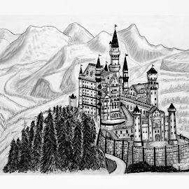 NEUSCHWANSTEIN CASTLE DRAWING by Gerry Slabaugh - Drawing All Drawing ( sleeping beauty, sketch, bavaria, germany, castle, neuschwanstein castle, drawing, neuschwanstein, king ludwig )
