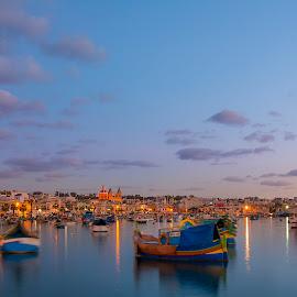 Marsaxlokk Fish Market-Malta by Beno Medic - City,  Street & Park  Night