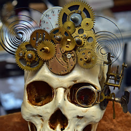 Timeless Guy by Marco Bertamé - Artistic Objects Other Objects ( gear wheels, skull, clock, number, round, circle )