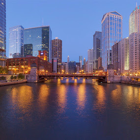 Chicago Wacker Street Bridge Panoramic... by Jamie Link - Buildings & Architecture Office Buildings & Hotels ( chicago skyline, wacker street bridge, award winning landscapes, marina tower, chicago river, jamie link photography, hdr, chicago panoramic, chicago landscape photography, lasalle street bridge, hdr photography, chicago, cityscape panoramic photography, chicago blue hour panoramic, lasallewacker building )