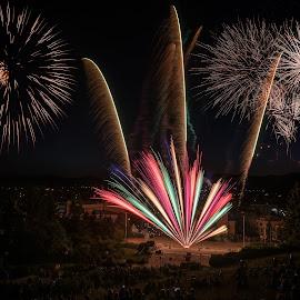 Fireworks - Panagyurishte by Krasimir Lazarov - Abstract Fire & Fireworks ( fireworks, cityscape, city park, fire, competition, city )